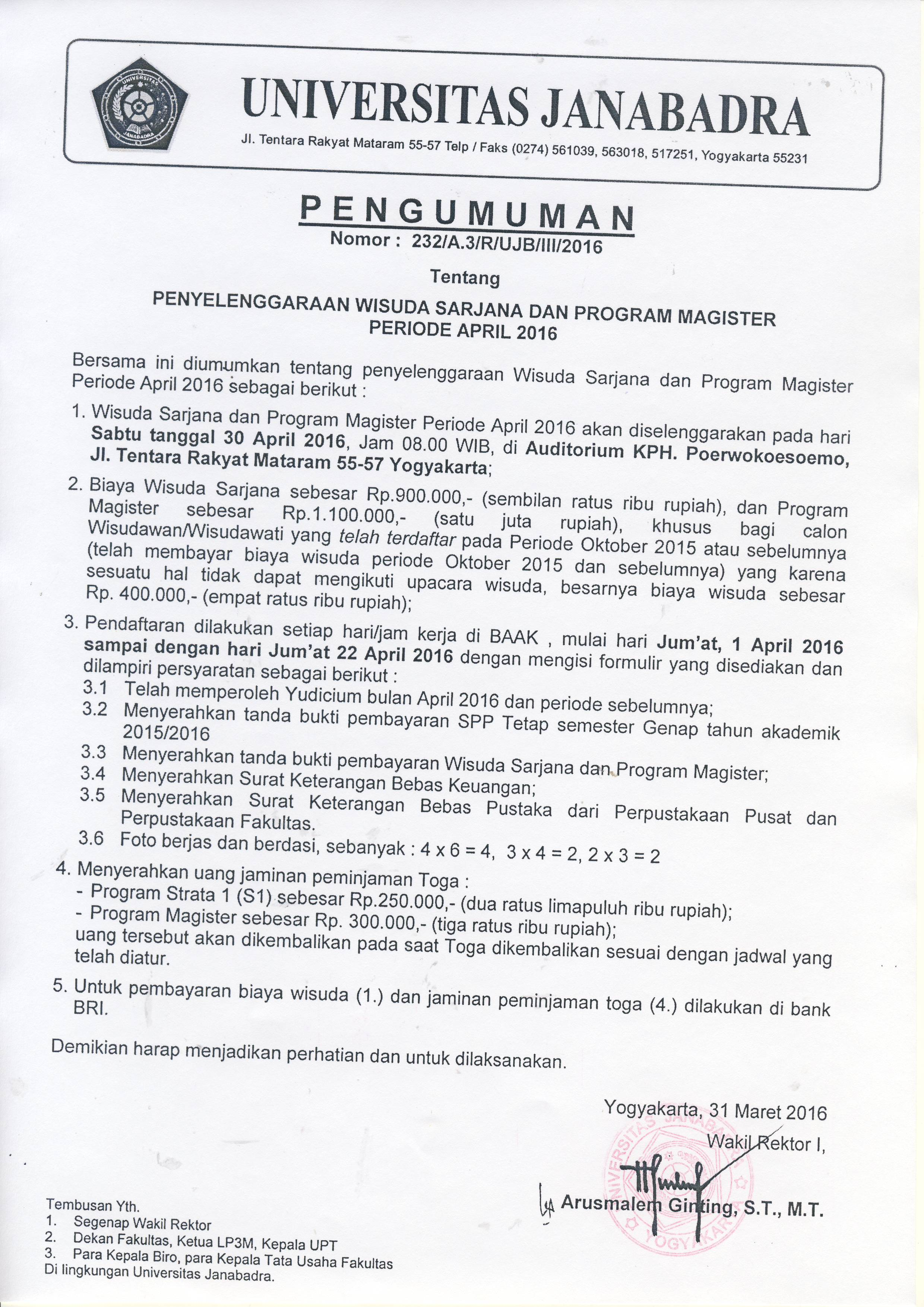 Pengumuman Pendaftaran Wisuda April Tahun Akademik 2015/2016