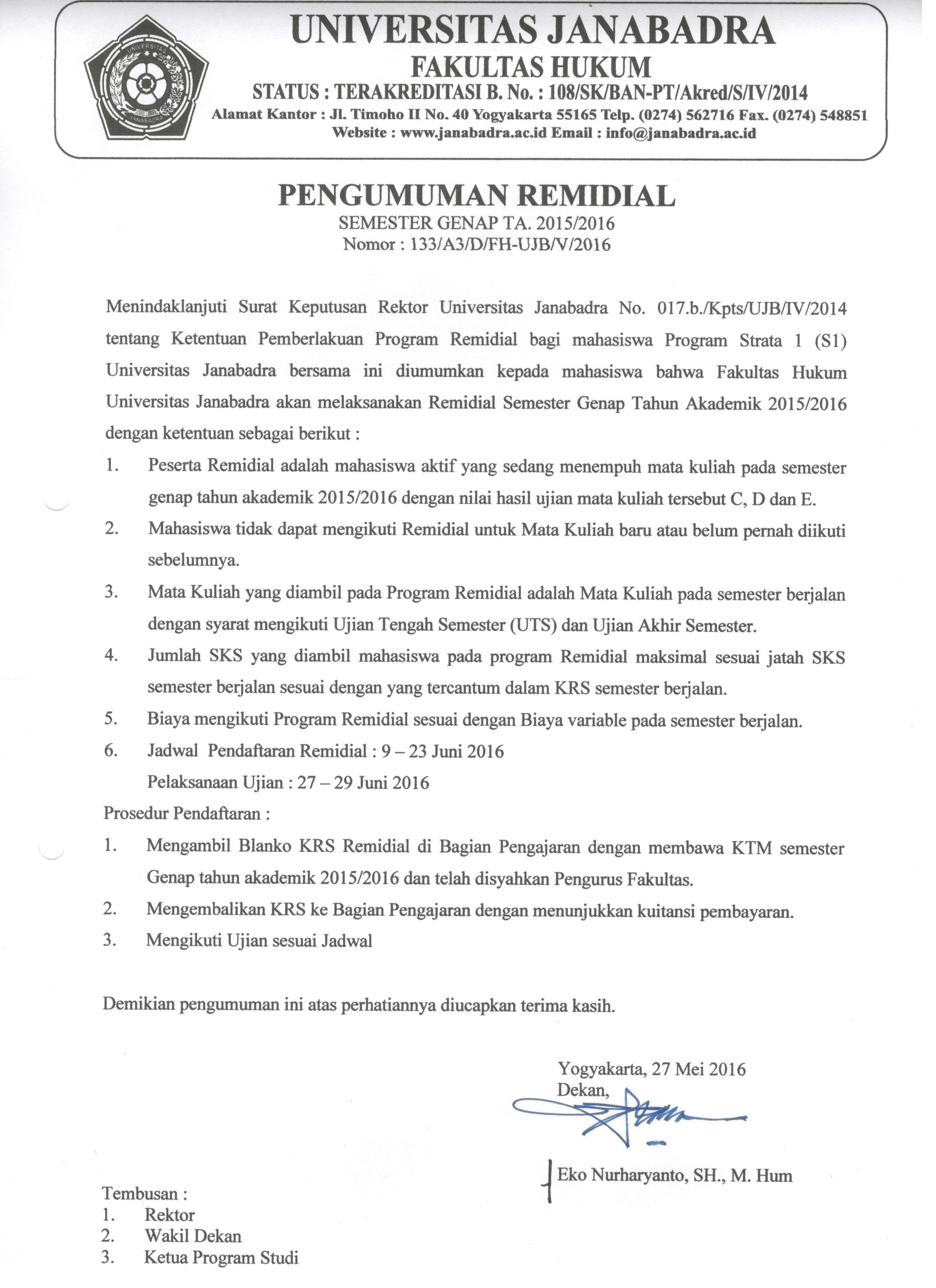 PENGUMUMAN REMIDIAL SEMESTER GENAP TAHUN AKADEMIK 2015/2016