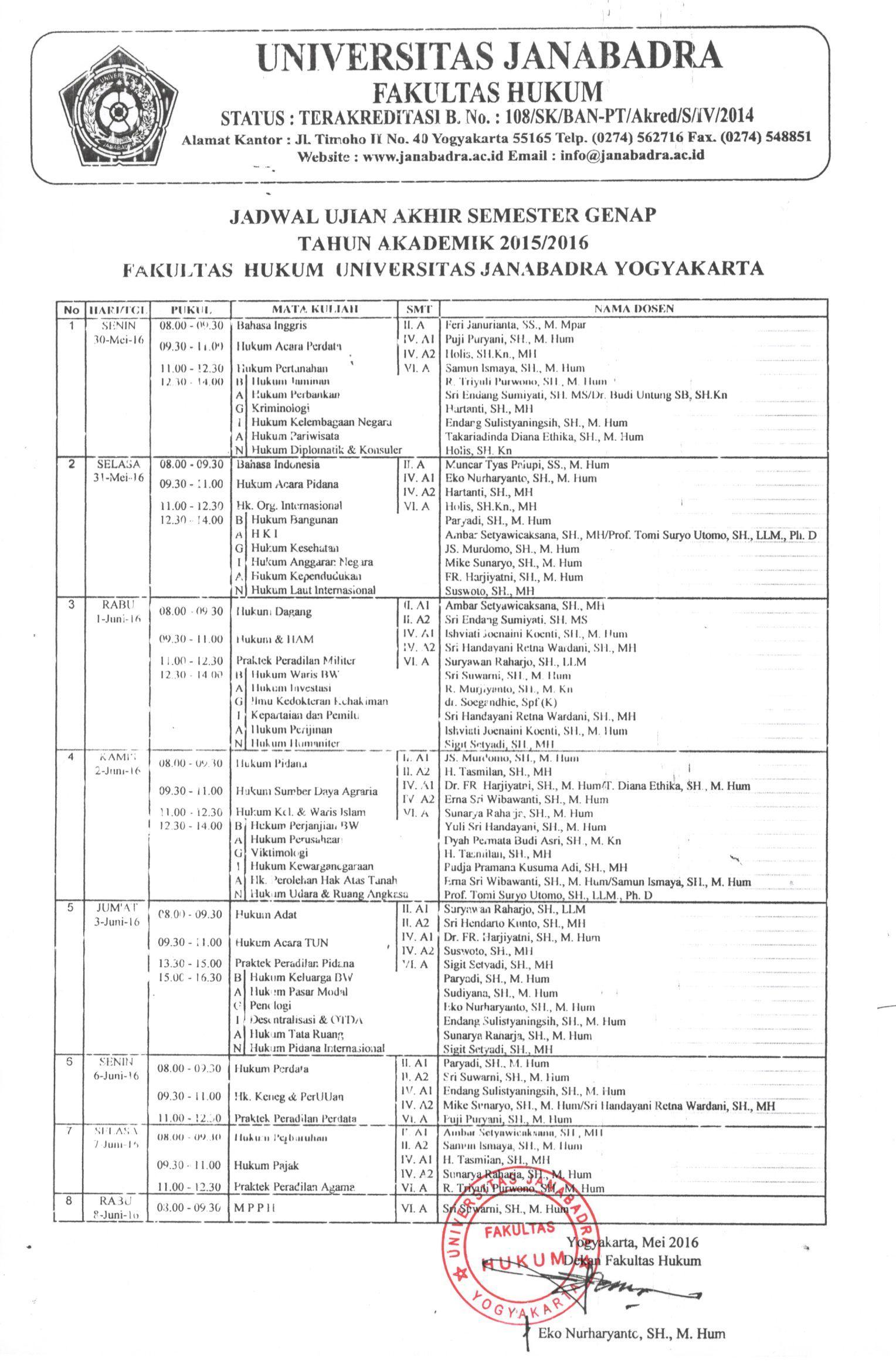 Jadwal ujian Akhir Semester Genap 2015/2016 Kelas Reguler