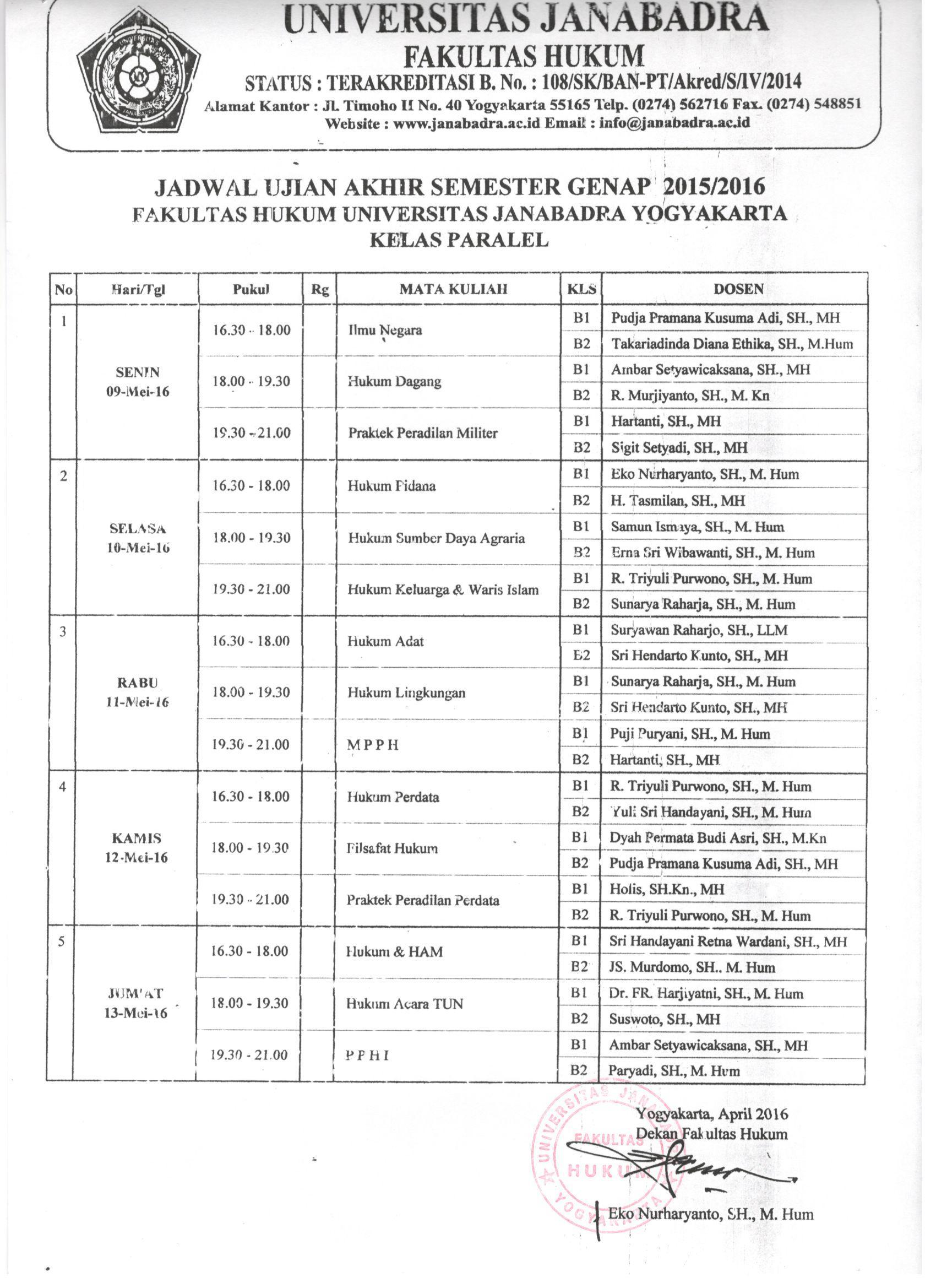 Jadwal ujian Akhir Semester Genap 2015/2016 Kelas Paralel