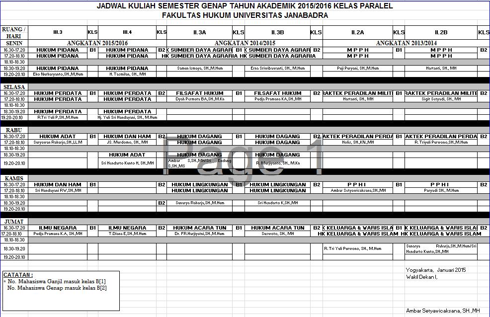 Jadwal Kuliah Semester Genap Kelas Paralel Tahun 2015/2016