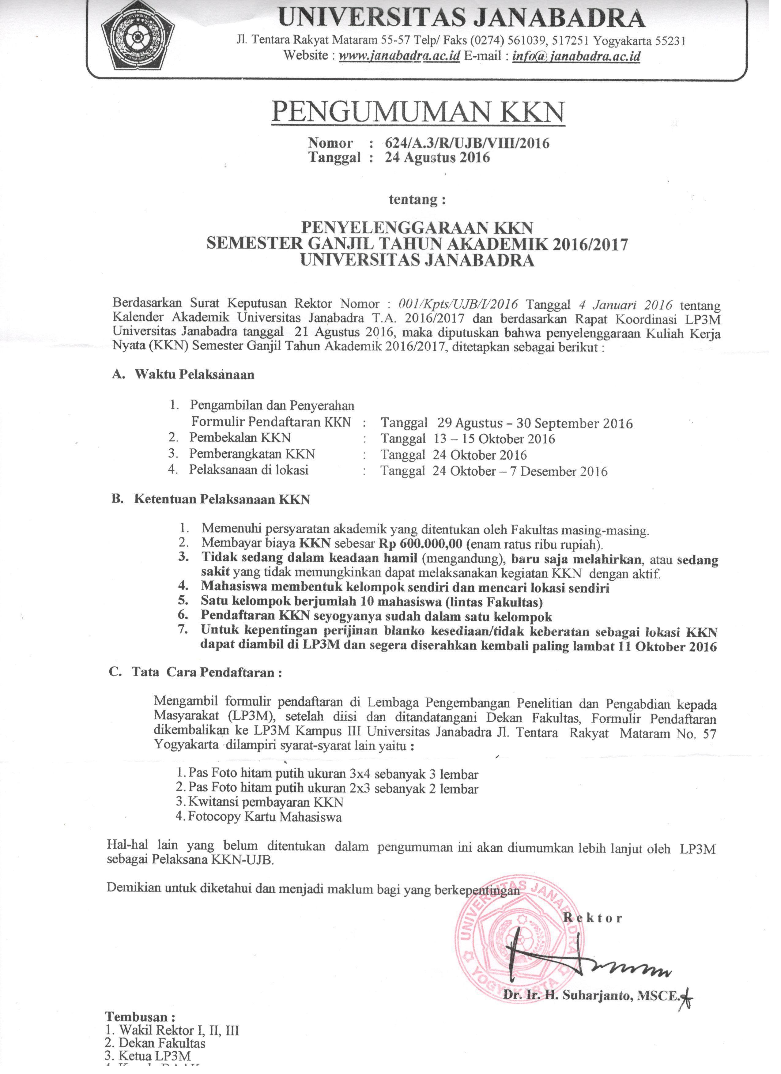 PENGUMUMAN KKN SEMESTER GANJIL 2016/2017